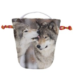 Lovable Wolves Drawstring Bucket Bag by amazinganimals
