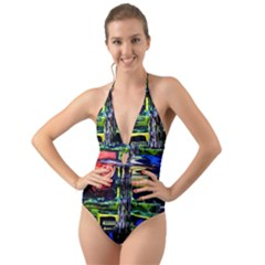 Between Two Moons 1 Halter Cut Out One Piece Swimsuit