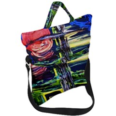 Between Two Moons 1 Fold Over Handle Tote Bag