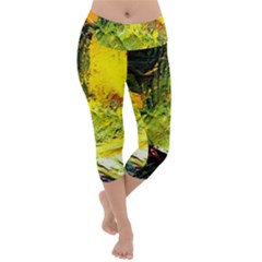 Yellow Chik 5 Lightweight Velour Capri Yoga Leggings