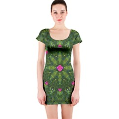 The Most Sacred Lotus Pond  With Bloom    Mandala Short Sleeve Bodycon Dress by pepitasart