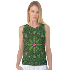 The Most Sacred Lotus Pond  With Bloom    Mandala Women s Basketball Tank Top by pepitasart