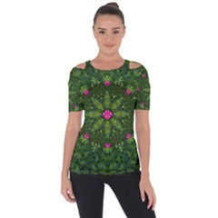 The Most Sacred Lotus Pond  With Bloom    Mandala Shoulder Cut Out Short Sleeve Top