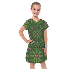 The Most Sacred Lotus Pond  With Bloom    Mandala Kids  Drop Waist Dress