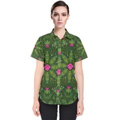 The Most Sacred Lotus Pond  With Bloom    Mandala Women s Short Sleeve Shirt
