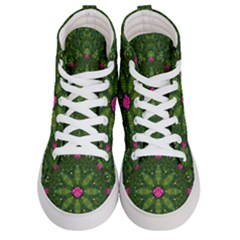 The Most Sacred Lotus Pond  With Bloom    Mandala Women s Hi Top Skate Sneakers