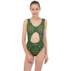 The Most Sacred Lotus Pond  With Bloom    Mandala Center Cut Out Swimsuit