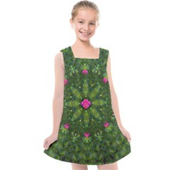 The Most Sacred Lotus Pond  With Bloom    Mandala Kids  Cross Back Dress by pepitasart