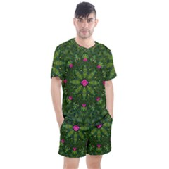 The Most Sacred Lotus Pond  With Bloom    Mandala Men s Mesh Tee And Shorts Set