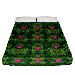 The Most Sacred Lotus Pond With Fantasy Bloom Fitted Sheet (queen Size) by pepitasart