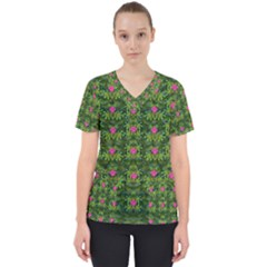 The Most Sacred Lotus Pond With Fantasy Bloom Women s V Neck Scrub Top by pepitasart