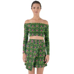 The Most Sacred Lotus Pond With Fantasy Bloom Off Shoulder Top With Skirt Set