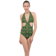The Most Sacred Lotus Pond With Fantasy Bloom Halter Front Plunge Swimsuit