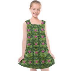 The Most Sacred Lotus Pond With Fantasy Bloom Kids  Cross Back Dress