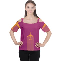 Airplane Jet Yellow Flying Wings Cutout Shoulder Tee