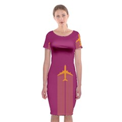 Airplane Jet Yellow Flying Wings Classic Short Sleeve Midi Dress