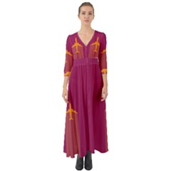 Airplane Jet Yellow Flying Wings Button Up Boho Maxi Dress