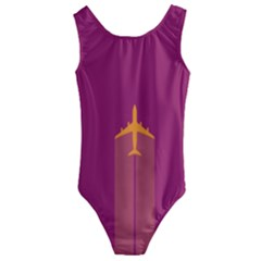 Airplane Jet Yellow Flying Wings Kids  Cut-out Back One Piece Swimsuit