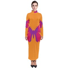 Butterfly Wings Insect Nature Turtleneck Maxi Dress
