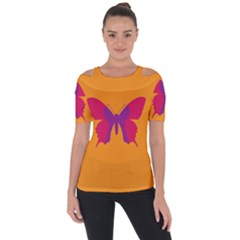 Butterfly Wings Insect Nature Shoulder Cut Out Short Sleeve Top