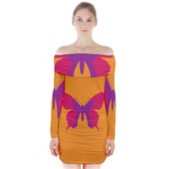 Butterfly Wings Insect Nature Long Sleeve Off Shoulder Dress