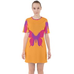 Butterfly Wings Insect Nature Sixties Short Sleeve Mini Dress