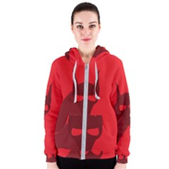 Skull Alien Species Red Character Women s Zipper Hoodie