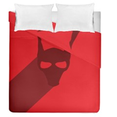 Skull Alien Species Red Character Duvet Cover Double Side (queen Size)