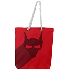 Skull Alien Species Red Character Full Print Rope Handle Tote (large)