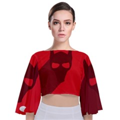 Skull Alien Species Red Character Tie Back Butterfly Sleeve Chiffon Top