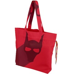 Skull Alien Species Red Character Drawstring Tote Bag by Nexatart