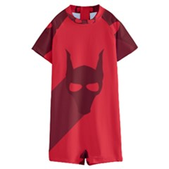 Skull Alien Species Red Character Kids  Boyleg Half Suit Swimwear