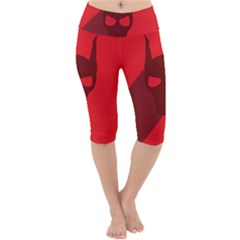 Skull Alien Species Red Character Lightweight Velour Cropped Yoga Leggings