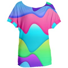 Lines Curves Colors Geometric Lines Women s Oversized Tee