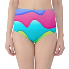 Lines Curves Colors Geometric Lines Classic High Waist Bikini Bottoms