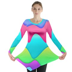 Lines Curves Colors Geometric Lines Long Sleeve Tunic  by Nexatart