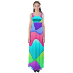 Lines Curves Colors Geometric Lines Empire Waist Maxi Dress