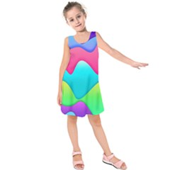 Lines Curves Colors Geometric Lines Kids  Sleeveless Dress