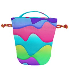 Lines Curves Colors Geometric Lines Drawstring Bucket Bag