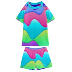 Lines Curves Colors Geometric Lines Kids  Swim Tee And Shorts Set