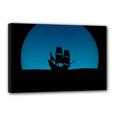 Ship Night Sailing Water Sea Sky Canvas 18  X 12  (stretched)
