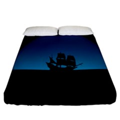 Ship Night Sailing Water Sea Sky Fitted Sheet (california King Size)