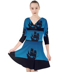 Ship Night Sailing Water Sea Sky Quarter Sleeve Front Wrap Dress by Nexatart