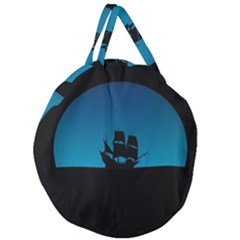Ship Night Sailing Water Sea Sky Giant Round Zipper Tote