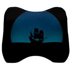 Ship Night Sailing Water Sea Sky Velour Head Support Cushion by Nexatart
