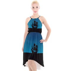 Ship Night Sailing Water Sea Sky High Low Halter Chiffon Dress