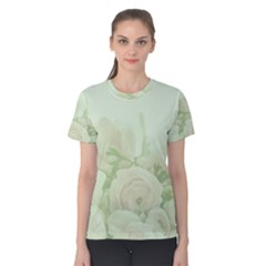 Pastel Roses Background Romantic Women s Cotton Tee by Nexatart