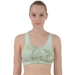 Pastel Roses Background Romantic Back Weave Sports Bra