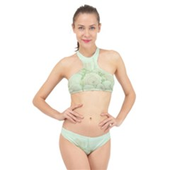 Pastel Roses Background Romantic High Neck Bikini Set