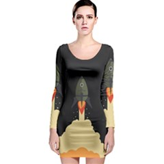 Rocket Space Stars Long Sleeve Bodycon Dress